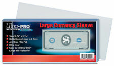"Ultra Pro Large Currency Sleeve (100 Count) 7-5/8"" x 3-3/38"" Money Sleeve SKU185"