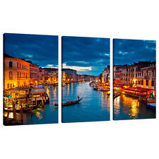 Split Canvas 3 Piece Blue Multi Panel Triple Part Venice Italy 3068