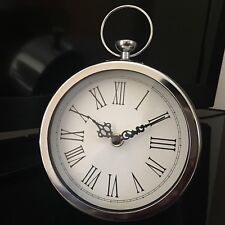 Small Silver Chrome Round Hanging Clock Roman Numerals mantle table clock 15cm