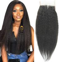 Brazilian Kinky Straight Yaki 4x4 Lace Closure virgin kinky human hair closures