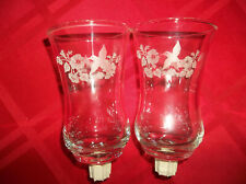 Homco Etched Glass Hummingbird Votive Cups Candle Holders w/Grommets - Set of 2