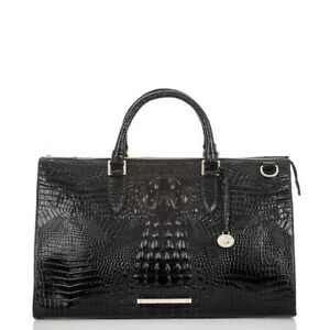 Brahmin Anywhere Weekender Black Melbourne Croc Embossed Leather Overnight NWT