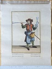Antique Marcellus Laroon Cries of London German Plate 4 Hand-Colored Engraving