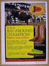 1971 Larry Mahan bull riding rodeo photo Justin Cowboy Boots vintage print Ad