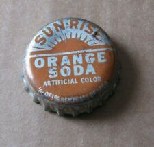 SUN RISE   ORANGE  CORK BOTTLE CAP  TOPEKA KANSAS COCA COLA BOTT VINTAGE CROWN