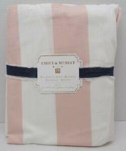 """Pottery Barn Teen Emily Meritt Circus Stripe Bedskirt Queen 18""""Drop Blush #7913H"""
