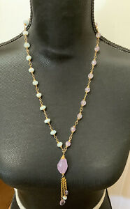 "HANDMADE Amethyst/Aquamarine Gold Fill Necklace/ Dangle 24"""