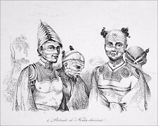 HAWAII : PORTRAITS of NOUKA-HIVIENS tattooe in 19th century - Etching from 19th