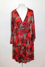 BNWT ZARA BASIC Red & Grey 3/4 Sleeve V Neck Floral Leaf Print Dress Size S