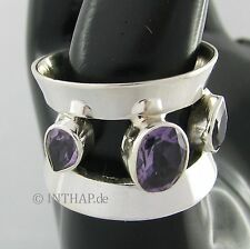 Echte Edelstein-Ringe aus Sterlingsilber mit Amethyst für Unisex