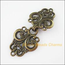 1Set Antiqued Bronze Clouds Heart Flower Bracelet Toggle Clasps Connectors