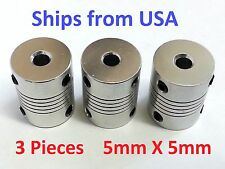 3PCS 5x5mm CNC Motor Shaft Coupler 5mm To 5mm Flexible Coupling Ships from USA