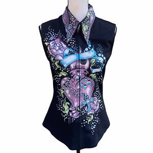 Lisa Nelle Western Show Vest Size Small Black Blue Purple Heart Cross