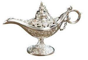 SMALL LAMP INCENSE BURNER RETRO OIL ALADDIN MAGIC CLASSIC SILVER DECORATION NEW