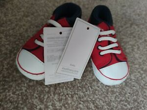 Mothercare baby boys Shoes Trainers Red 0-3, 3-6 Months New with tag