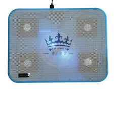 "14"" to 17"" Laptop Notebook PC LED USB 5 Fans Cooler Cooling Pad Blue Anti-Slip"