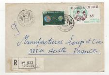 République de Côte-d'Ivoire 2 timbres sur lettre AR 1980 tampon Abidjan /L13