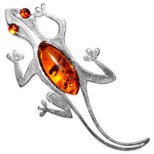 7.11g Gecko Authentic Baltic Amber 925 Sterling Silver Pendant Jewelry N-A685