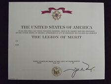 (U12) Original US Urkunde Diplome Certificate  Legion of Merit m. Unterschrift