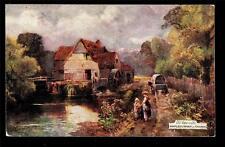 Tuck artist signed Old Watermills Mapledurham on Thames UK postcard