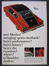 1965 AMC Rambler Marlin Fastback red-black car color photo vintage print Ad
