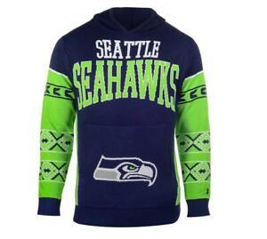 Men's Seattle Seahawks Klew Navy Big Logo Sweater Pullover Hoodie  Sz.M
