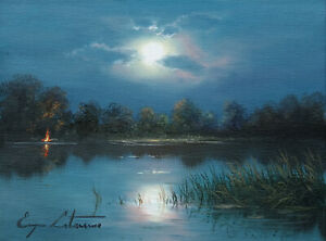 J. Litvinas Original Oil Painting 'MOONLIGHT' 8 by 6 inches