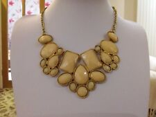 Brand new stunning gold statement necklace with beige stones in a gift bag