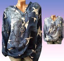 Jeans Optik Bluse Clara 44 46 Damen Fischerhemd L XL XXL Tunika Hemd Shirt Top