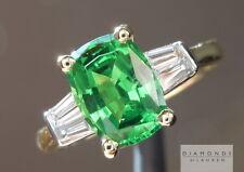 2.04ct Tsavorite Cushion Cut and Diamond Ring R3603 Diamonds by Lauren