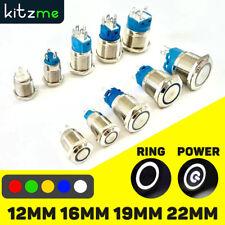 12/16/19/22mm Metal Push Button Switch LED Light Momentary Latching Waterproof