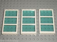 3 x LEGO Window 57894 + TrLtBlue glass 57895 / 3188 41037 41095 4996 41135 7632