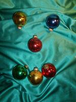 ~ 6 alte Christbaumkugeln Glas gold rot blau grün Weihnachtskugeln Tannenbaum ~