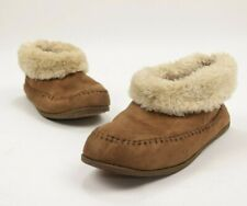 Airwalk Women Boots Bootie Slippers Suede Moccasin Fur Ankle Brown Size 6