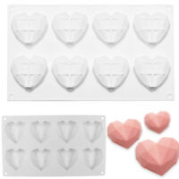 Luxury Diamond Heart Dessert 3D Cake Mold Art Mousse Silicone Mould Chocolate