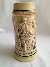 1 Liter Vintage German Beer Stein Marked Germany Ceramic Tavern W/ Puppies Dog