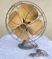 Antique Vintage Emerson Electric Oscillating 6250-K Brass Fan WORKS!