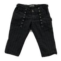 Tripp NYC Womens 7 Black Pinstripe Goth Punk Emo Capri Pants Shorts