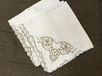 "LOT 6 vintage napkins 17"" embroidered cutwork design ivory off white"