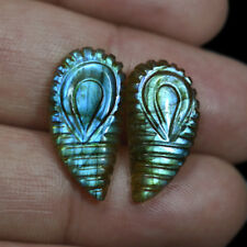 Natural Labradorite Peacock Feather Fire Leaf Carving Pair 15.00 Cts Earrings