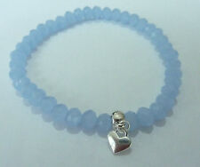 UK Pale Blue Stretch Glass Crystal Bracelet with Heart Charm (7mm) Beads 6x5mm