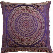 "Purple Indian Ethnic Mandala Silk Brocade Cushion Covers Handmade 15"" Zip Back"