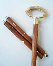 "Nautical Brass Designer Handle Wooden Walking Stick Cane In 3 Fold 36"" Long Gift"