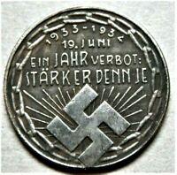 1934 WW2 GERMAN COMMEMORATIVE COLLECTORS COIN SWAST.