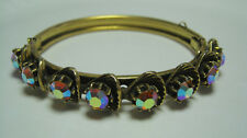 Golden Florenza Bracelet with Aurora Borealis Rhinestones Vintage