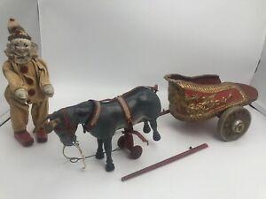 Schoenhut Humpty Dumpty Circus Chariot Pull Toy With Donkey & Clown ~RARE~