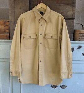 Vintage 1950s LL Bean Beige Chamois Work Shirt sz L