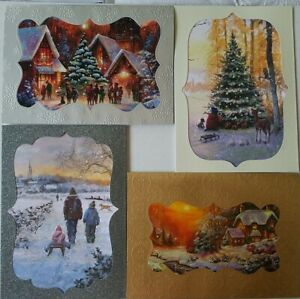 Hallmark Style 40 Count Christmas Holiday Cards with Envelopes Snowy Landscape