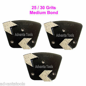 3PK Trapezoid Arrow Seg Grinding Shoe / Disc / Plate - Medium Bond - 25/30 Grit