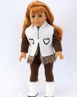"""Doll Clothes 18"""" Western Suede Pants Shirt Vest Boots Fit American Girl Dolls"""